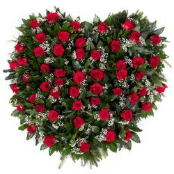 Wieniec pogrzebowy serce z róż