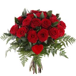 Bukiet 20 róż z sercem Telekwiaciarnia